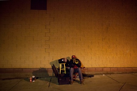 Philadelphia, Man, Trumpet, Music, Alley, Panhandle, stool